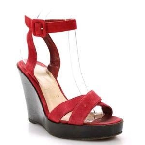 Christian Louboutin Red Suede Wedges - Size 38.5